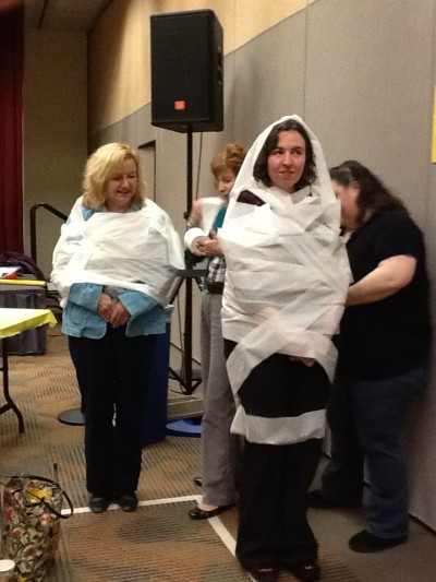 LL Sharon Librarian mummies at summer reading workshop